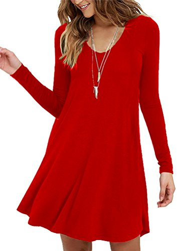 Women's Long Sleeve Tunic Dress Casual Flowy T-shirt Swing Dresses XL (Red Tunic Dress)