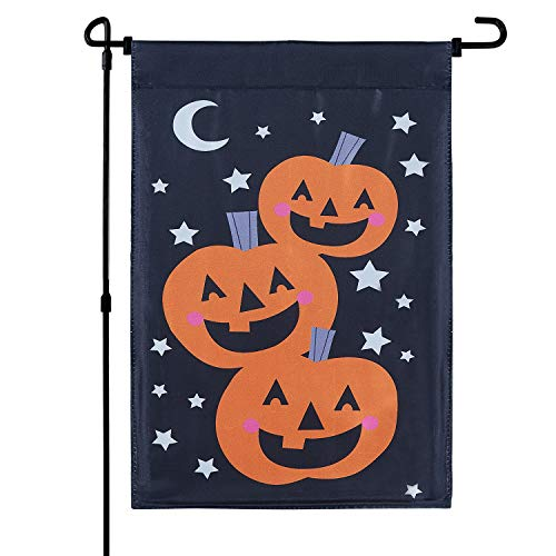 MACTING Double Sided Pumpkin Satin Halloween Garden Flag, Halloween Vertical Garden Flag for Kids Party Halloween Decorations, 12.5 x 18 Inch