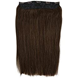 "One Piece 5 Clips Quad Weft Clip in Remy Human Hair Extensions Silky Straight 3/4 Full Head Clip on Hair (16"" 120g, 4#)"
