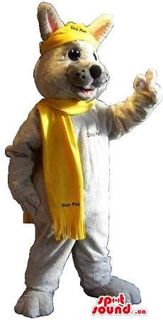 Cool Grey Fox Mascot SpotSound US Dressed In A Yellow Scarf With Text - Fox Costume Canada