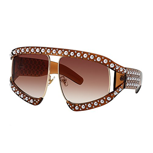 WOWSUN Oversize Fashion Square Frame with Pearl Crystal Sunglasses for Women - Fashion Oversized Sunglasses