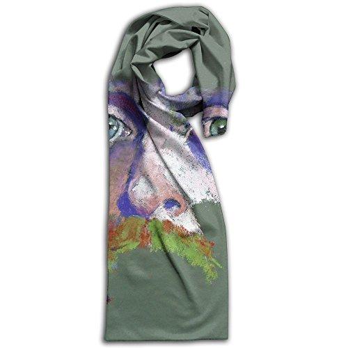 Womens 100% Charmeuse Silk Scarf Half Color (Half Mantel)