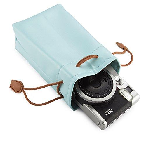 Flylther Borsa con tracolla in pelle PU Flylther per borsa mini fotocamera Fujiflim Instax azul