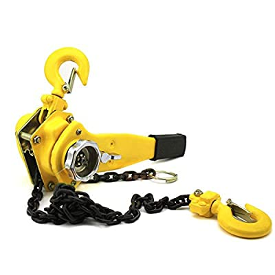 KCHEX>1.5 Ton Hoist Ratchet Type Puller 10FT Chain Lifter Lever Block Chain 1-1/2 New>Mechanical load brake when lifting 10 foot lift Hook: hardened, heat-treated and forged steel with black oxide