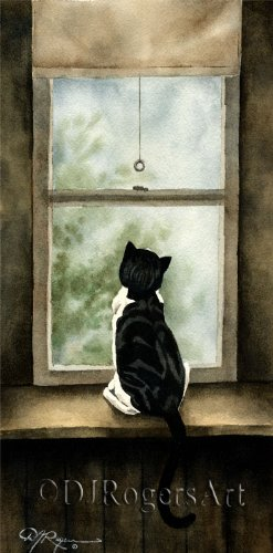 (Looking Out Tuxedo Cat Watercolor Art Print by Artist DJ Rogers)