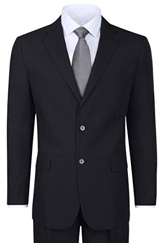 Men's 2 Piece Black Elegant Single Breasted 2 Button Suit (42 Short) ()