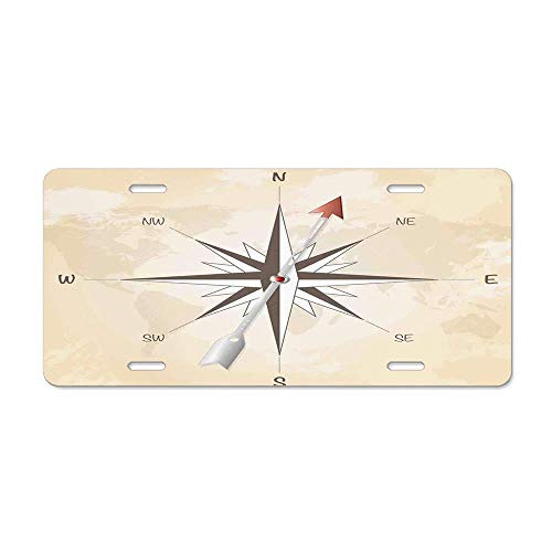 World Map,Rustic Antique Vintage Explorer Routes Compass Figure Grungy Display,Light Coffee Sand Brown Novelty Decorative License Plate Cover Front Car Tag Plate Aluminum Metal 6