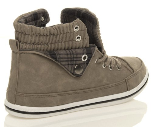 Ajvani Womens ladies girls flat lace up sports high hi top pumps trainers shoes size Khaki Brown CP0a8te