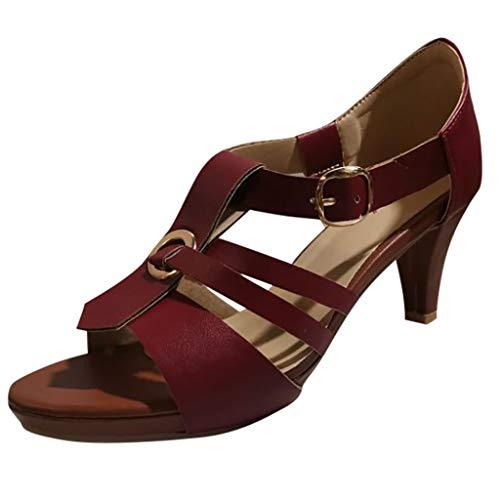 ♡QueenBB♡ Women's Ladies Elegant High Heels Dress Sandals Clog Sandals Open Toe Buckle Strap Roman - Shirt Embroidered Ls Denim