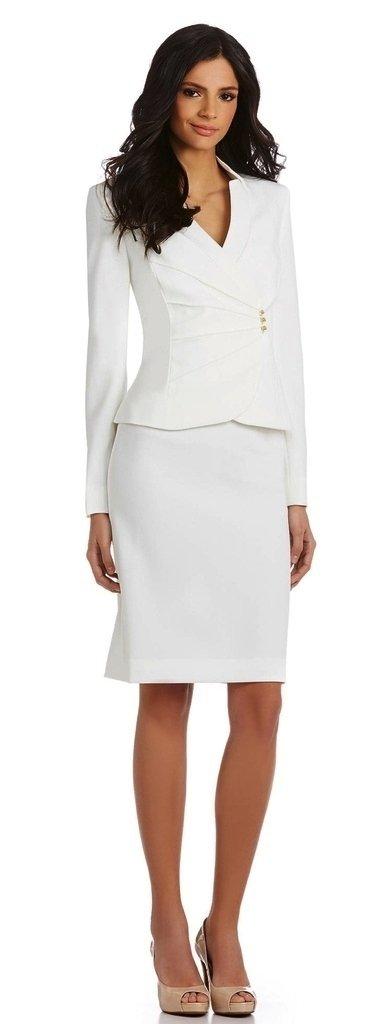 Tahari ASL Asymmetrical Jacket Skirt Suit, 4, Ivory /White