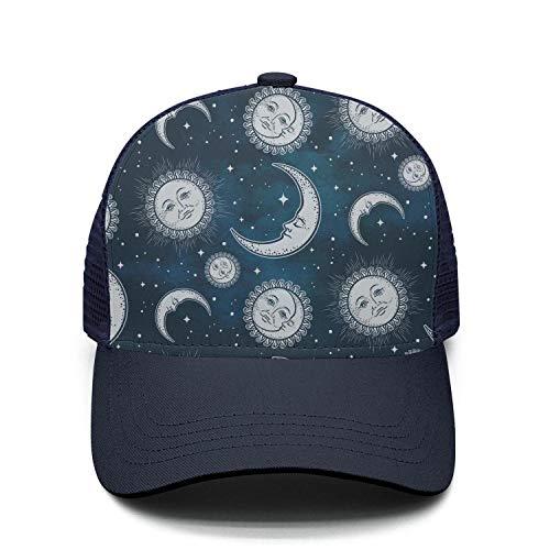 Unisex Boho Moon Sun and Stars Cap Classic Mesh Sun - Ornament Stripe Ball