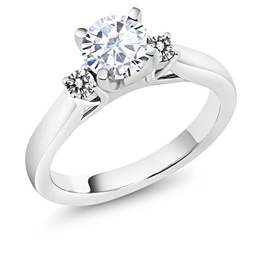 Charles and Colvard Moissanite 925 Sterling Silver Engagement Solitaire 3-Stone Ring 6mm 0.88Ct with White Diamonds as Side Stones by Gem Stone King