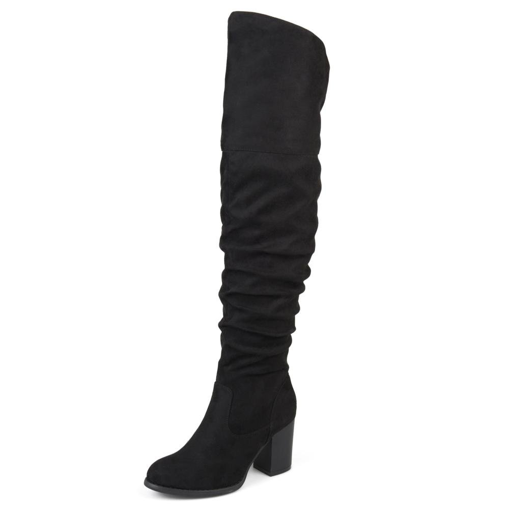 fc98f387bb1 Brinley Co. Womens Regular Wide Calf and Extra Wide Calf Ruched Stacked  Heel Faux Suede Over-The-Knee Boots Black