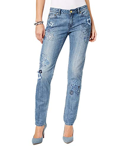Michael Michael Kors Embroidered Straight-Leg Jeans in Regular & Petite Sizes (Blue, -