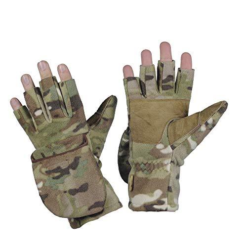 Winter Fleece Mittens - Windproof Gloves - Warm Insulated Gloves (Camo, L/XL)