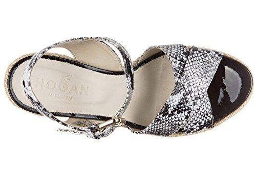 Hogan compensées escarpins chaussures sandales femme cuir h286 liuta fasce noir