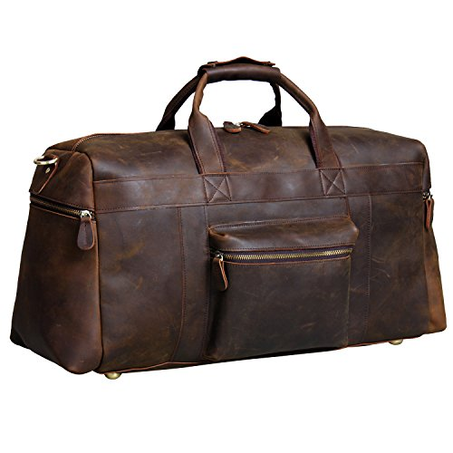 Amazon Lightning Deal 60% claimed: S-Zone Vintage Crazy Horse Leather men's Travel Duffle luggage Bag