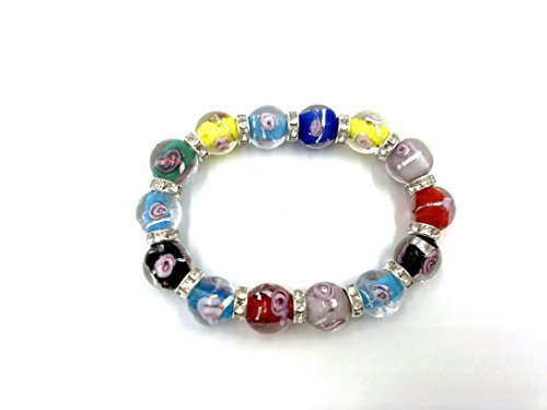 skyllc 12mm Charming Bracelet with Artificial Diamond and Murano Lampwork Glass Multi-Colored Flower Beads for Women ()