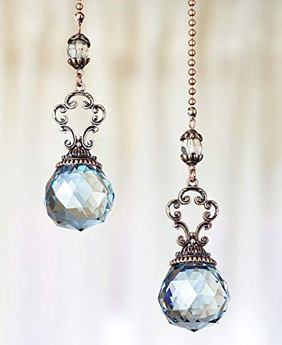 The Lakeside Collection Set of 2 Vintage Jeweled Fan Pulls (Blue) ()