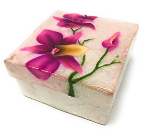 Kubla Craft Purple Orchid Capiz Shell Keepsake Box, 3 Inches Square by Kubla Craft