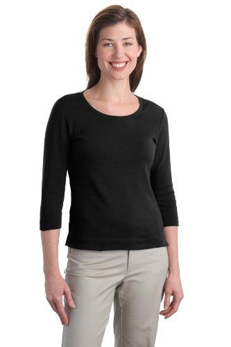 's Modern Stretch Cotton 3/4 Sleeve Scoop Neck M Black ()