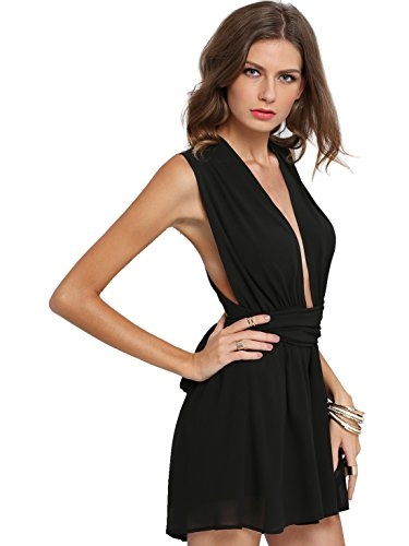 Verdusa Women's Sexy Plunge V Neck Chiffon Cross Back Romper Jumpsuit Black L