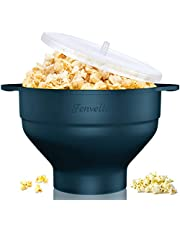 Microwave Silicone Popcorn Popper, Fenvella Collapsible Hot Air Microwavable Popcorn Maker BPA Free & Dishwasher Safe, Popcorn Bowl with Lid & Handle for Home Party