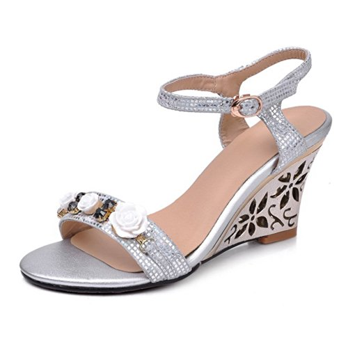 VogueZone009 Womens Open Toe High Heel Wedges PU Soft Material Solid Sandals with Flower, Silver, 4.5 UK