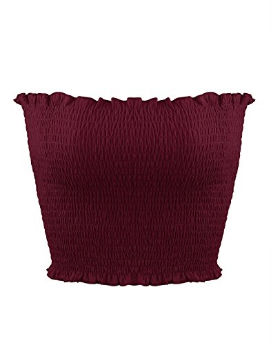 (Sweetbei J Womens Strapless Pleated Summer Sexy Bandeau Tube Crop Tops Purple M)
