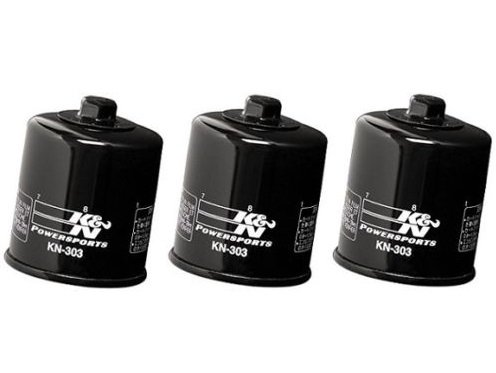 K&N Powersports Black Oil Filters (Pack of 3) 2007-2008 Yamaha YZF-R6S / KN-303