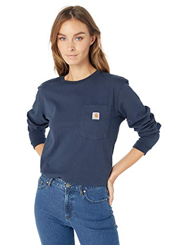 (Carhartt Women's Wk126 Workwear Pocket Long Sleeve T Shirt, Navy, Small)