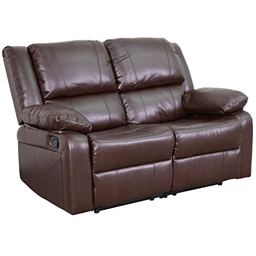 (Flash Furniture Harmony Series Brown Leather Loveseat with Two Built-In Recliners)
