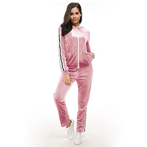 Unifizz Women's 2 Pieces Velour Sweatsuit Outfit Set Long Sleeve Hoodie Top and Jogger Pants Sport Tracksuits Pink M ()