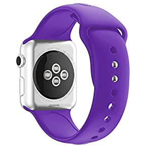 Inozama Apple Watch Band, Soft Silicone Sporty Replacement Strap Band for iWatch Apple Watch Series 1 Series 2 Series 3 (42MM M/L Purple)