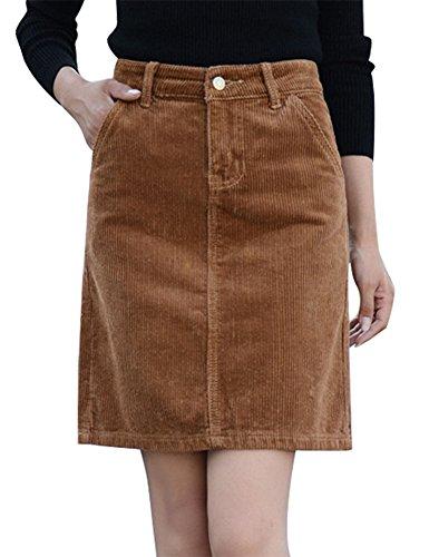 IDEALSANXUN Women's Slim Fit High Waist Short Corduroy Mini Skirt (Brown, US L) ()