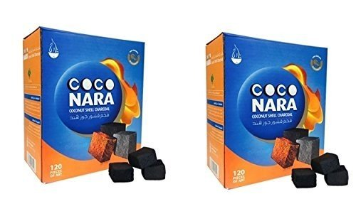 CocoNara 2 - Box of 120 Piece Coconut Coco Nara Coconara Premium Lighting Hookah Hookah Charcoal Coals- 2 (Best Coco Hookah Coals)