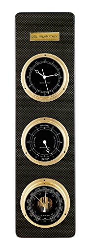 Del Milan 3 in 1 Fishermans Station, Clock, Tide Clock, Barometer, Carbon Fibre Finish by Del Milan