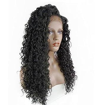 Las mujeres encaje con peluca de cabello humano peruano remy encaje frontal sin pegamento Lace Front 130% densidad con bebé pelo rizado peluca negro negro ...