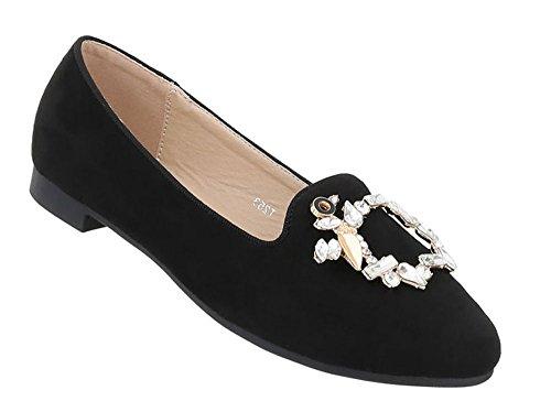 Schuhcity24 Damen Schuhe Halbschuhe Slipper Ballerinas Schwarz