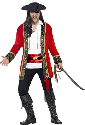 Men's Pirate Captain Costumes (Smiffy's Men's Pirate Captain Costume, Jacket, Shirt and Waist sash, Pirate, Serious Fun, Plus Size XXL, 24464)