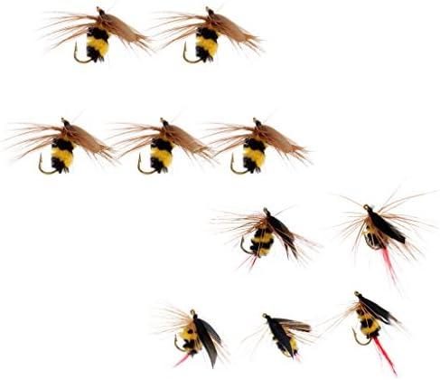 昆虫餌 ルアー 蜂の型 ベイト ハエ 人工フェザー フック フライフィッシング 10個