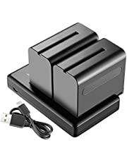 Neewer 2-Pack 6600mAh Li-ion Battery with USB Charger for Sony NP-F550 570 750 770 970 960 975,Sony Handycams,NW CN160 CN-216 LED Light,NW 759 74K 760 Feelworld,759 74K 760 Field Monitor