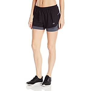 """New Balance Womens 3"""" 2-in-1 woven Short, black, Small"""