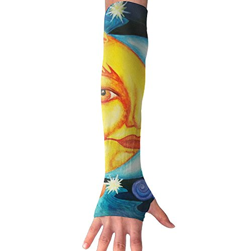 HBSUN FL Unisex Abstruct Sun Moon Painting Anti-UV Cuff Sunscreen Glove Outdoor Sport Riding Bicycles Half Refers Arm Sleeves by HBSUN FL