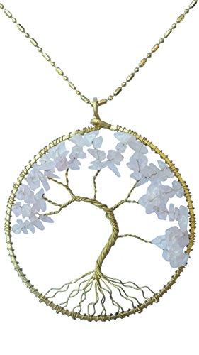 [DEW Drops Simulated Rose Quartz Tree of life Pendant Brass Long Necklace Gemstone Chakra Jewelry] (Polynesian Girl Costume)