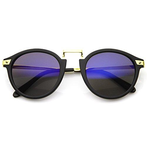 zeroUV ZV-8591k Vintage-Inspired Round Horned Rim P-3 Frame Retro Sunglasses (Inspired Black Frame Sunglasses)