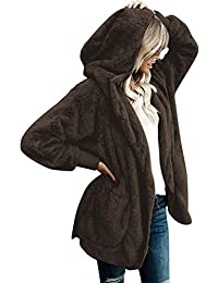 SVALIY Womens Fuzzy Fleece Loose Open Front Hooded Cardigan Coats Outwear Pockets