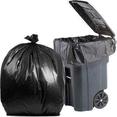PlasticMill 64 Gallon Garbage Bags: Black, 1.5 Mil, 50x60, 50 Bags.