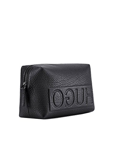HUGO Men's Leather Victorian L_Washbag Black One Size by Hugo Boss