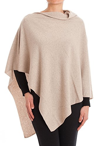 DALLE PIANE CASHMERE - Poncho Cashmere Blend - Made in Italy, Color: Beige, One Size (Beige Cashmere Blend)